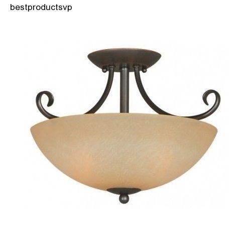 #Ebay #Semi #Flush #Ceiling #Light #Bronze #Lighting #Fixture #Mount #2 #Light #Glass #Shade #Lamp  #HardwareHouse #Modern