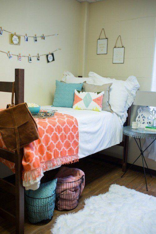 dorm | dorm ideas | cute dorm | peach and blue dorm | dorm life | college | tiny