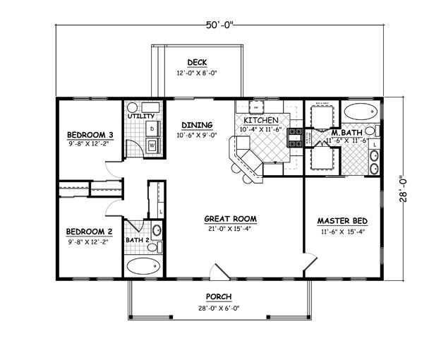 1400 sqft house plans home plans and floor plans from for One level ranch home floor plans