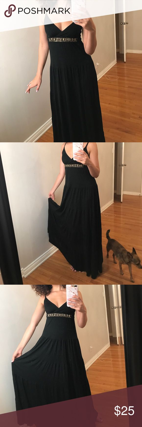 Black Grecian Maxi Dress Black Grecian maxi dress with flowy skirt and brass detailing. Adjustable straps and has stretch. In great condition. Would fit a small, size 4, and maybe even a medium. Very comfortable and flattering on the body. New York & Company Dresses Maxi