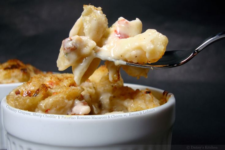... Cheddar and Pecorino Romano Macaroni and Cheese with Bacon and Lobster