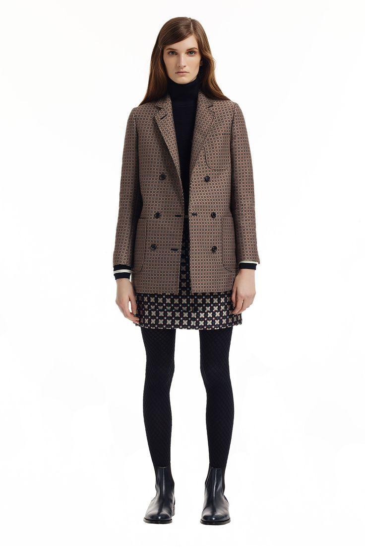 Thom Browne | Pre-Fall 2015 | 18 Brown/black printed blazer, black turtleneck long sleeve sweater and navy/beige mini skirt
