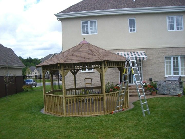 Bright Hexagon Gazebo Plans with the Stair Accompanied