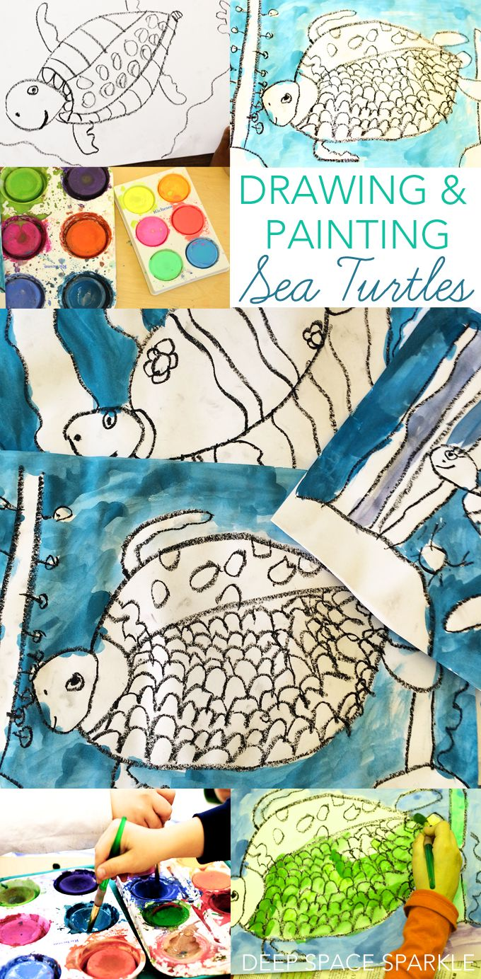 How to draw and paint a sea turtle using simple art supplies. Art projects for kids