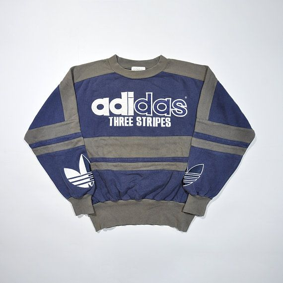 reputable site 0b589 54053 Rare Vintage 80s 90s ADIDAS Pullover   ADIDAS Big Logo   Retro Adidas  Sweater   Trefoil ADIDAS Jumper Multi Color Block Cewneck Sweatshirt