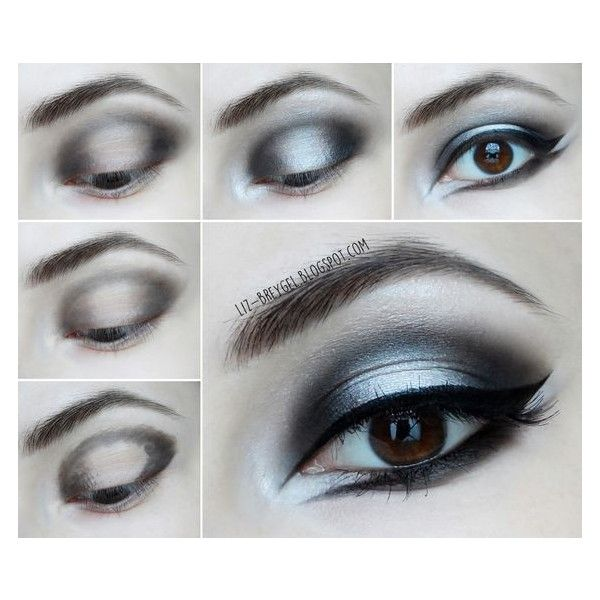 Gothic Makeup Step by Step Tutorial Beauty Angel ❤ liked on Polyvore featuring beauty products, makeup, eye makeup and eyes