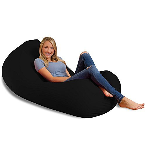 Big Squishy Portable And Stylish Bean Bag Chair Large Black For Sale