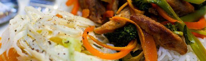 Muss ich probieren: Soja-Geschnetzeltes und Gemüse mit Orangen-Teriyaki-Sauce