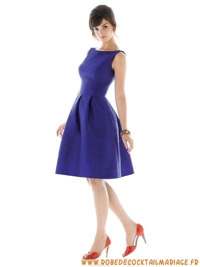 Satin Col De T-Shirt Princesse Bleu Robes De Demoiselle D'honneur 0216