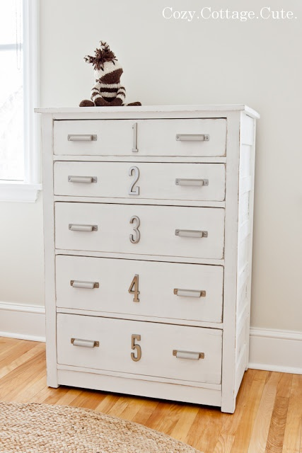 Distressed dresser with numbers and double handles. (For kids).