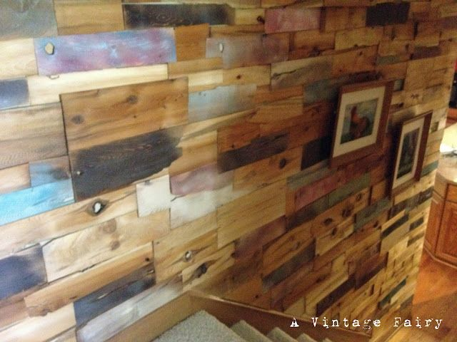 """Awesome """"distressed barn wood""""  focal wall idea: 5 packs of white cedar wide shims (size D); various shades of stains; hot-glue; and topped with 2 coats of General Finishes Wipe on Gel Urethane.  I Love This!!!Picket Fences, Barn Wood Walls, Vintage Fairies, Shim Wall, Barns Wood Wall, Cedar Shim, Shim Barnwood, Wall Ideas, Shim Shimmery"""