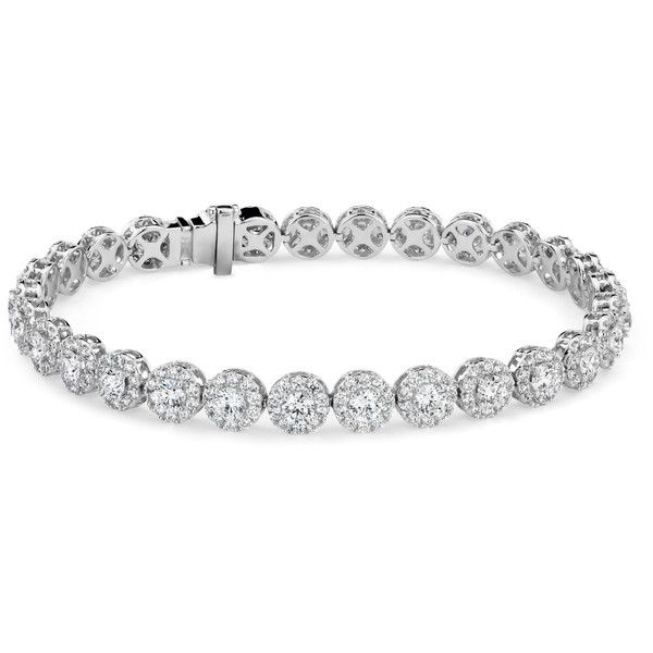 Blue Nile Diamond Halo Bracelet (642 960 UAH) ❤ liked on Polyvore featuring jewelry, bracelets, 18k bangle, 18k jewelry, 18k white gold jewelry, blue nile and blue nile jewelry