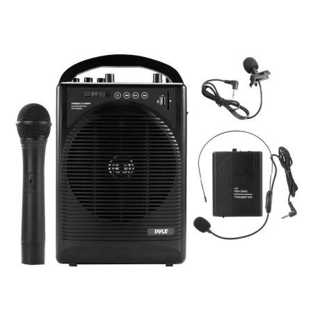 Portable PA Speaker Amplifier & Microphone System, BT Streaming, Built-in Battery, Accessory Kit (Includes Handheld Mic, Headset Mic, Lavalier Mic, Belt Pack Transmitter), Multicolor