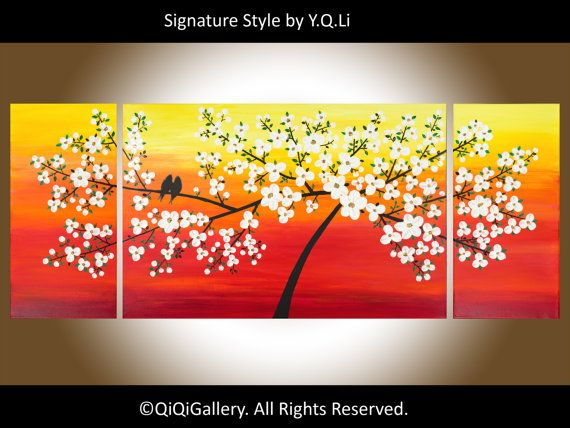 60 Red Painting Abstract Large Painting Original by QiQiGallery, $545.00