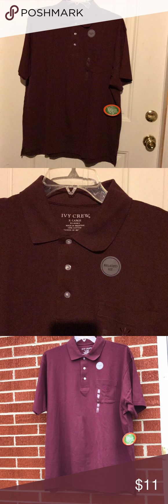 NWT Ivy Crew Relaxed Fit SS Burgundy Polo Shirt XL New with tags Men's Ivy Crew burgundy polo shirt has a Relaxed Fit and is size x-large. Shirt has their logo embroidered on pocket. Top has a collar, 3 buttons, short sleeves and slits on each side. Darker pics were taken inside while lighter ones outside in the shade on a sunnier day. Pakistan 100% cotton. Ivy Crew Shirts Polos