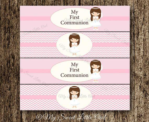 Etiquetas de botellas de agua Primera Comunion - fiesta  rosa - Primera Comunión niña - sticker rosa - etiqueta Primera Comunión
