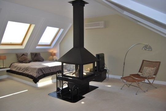 A lovely attic (i love the chimney)