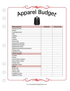 Use the Wedding Planner apparel budget worksheet to keep track of the bride's dress, the groom's tuxedo, and both parties' rings. Make an estimate early on and then fill in the actual cost as you go. Free to download and print
