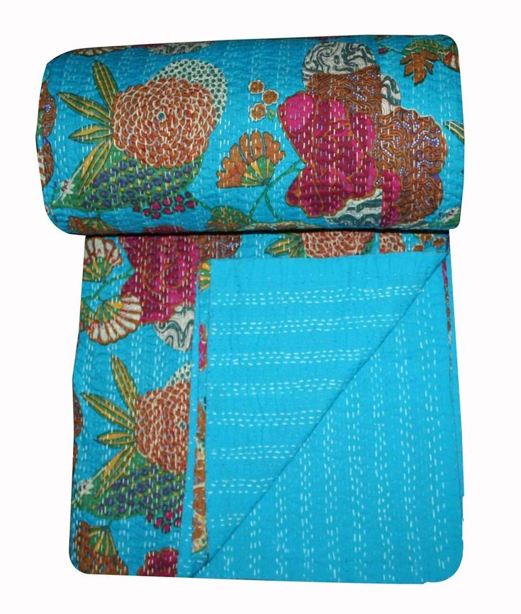Indian Kantha Throw Bed cover Queen Size Quilt 100% Cotton Handmade Blanket #Handmade #Traditional