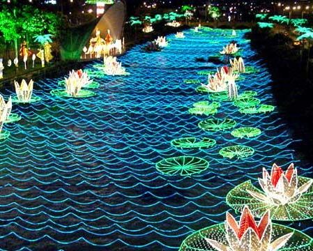 "The Medellin River in Colombia is decorated with lights for ""Navidad"""