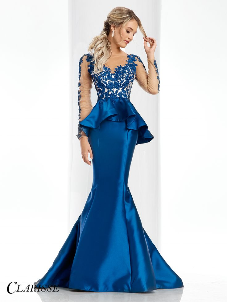 Clarisse Couture Prom Dress 4701.  Floral appliqué with long sleeves, a peplum, keyhole opening and a mermaid skirt. COLOR: Black, Emerald, Navy, Ruby, Turquoise , Ivory SIZE: 0-20 Find this stunningly beautiful gown from your local Clarisse retailer! Search for yours below! http://clarisse.com/locator/index.php