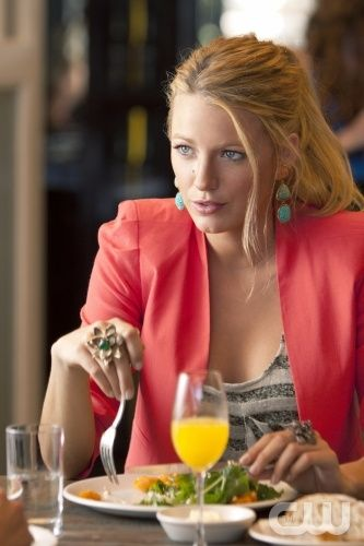 I love Blake Lively's pink blazer and turquoise earrings.