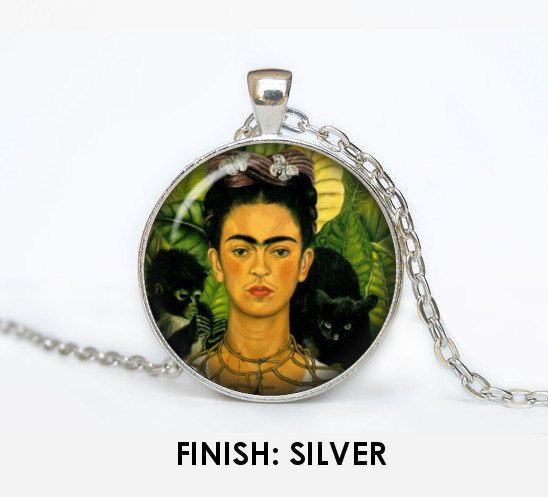 FRIDA KAHLO handmade necklace with pendant, glass cabochon silver bronze pendant illustration art pendant art necklace frida kahlo 021