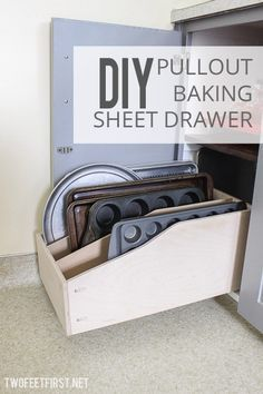 DIY pullout baking sheet drawer - what a great idea for a kitchen rack to organize all the bakeware
