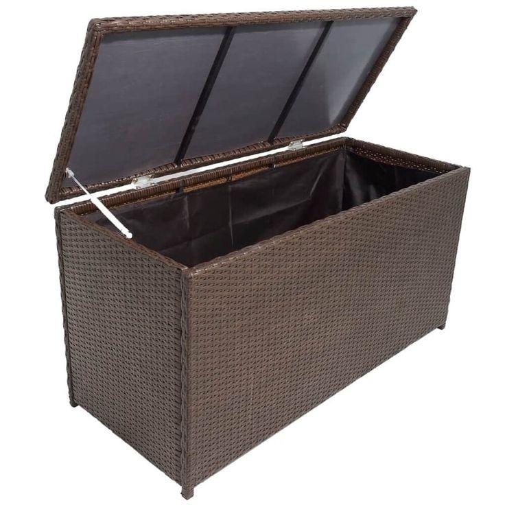 Deck Boxes Style 2 Black 64 X 30 X 30 Large Wicker Storage Box
