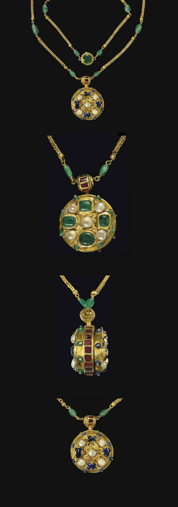 Pendant  6th-7th Century  --  Byzantine  --  Gold, saphire, emerald, garnet & pearl  --  Suspended from a gold & emerald chain.
