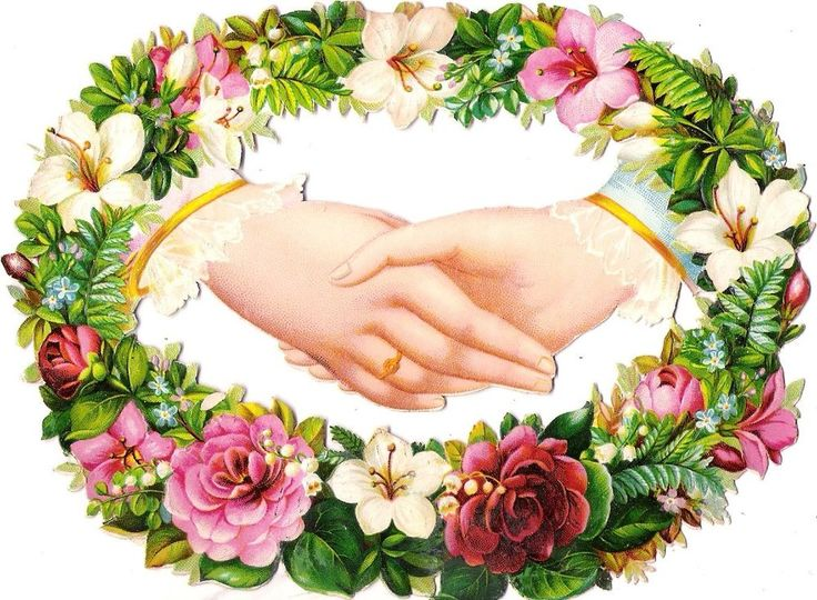 Oblaten Glanzbild scrap die cut chromo Hand  XL 15cm Hände main floral border: