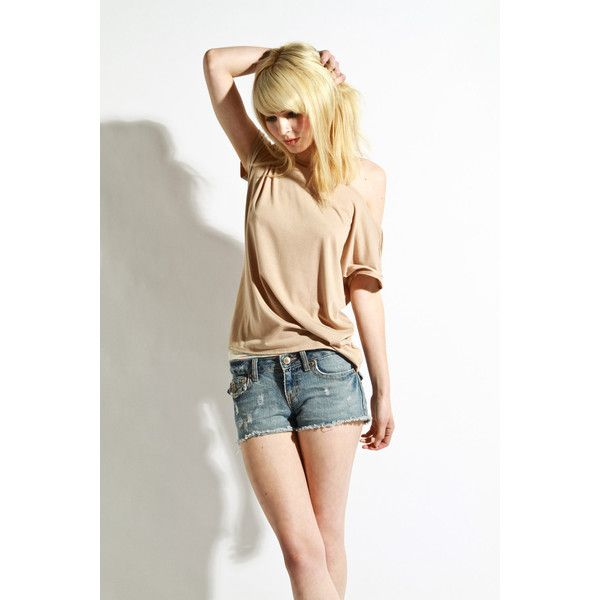 Womens Shirt Beige Tunic Womens Blouse Jersey Small by lamixx via Polyvore