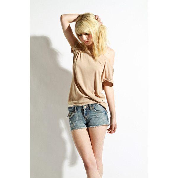 Womens Shirt Beige Tunic Womens Blouse Jersey Small by lamixx via Polyvore