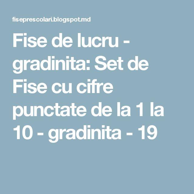 Fise de lucru - gradinita: Set de Fise cu cifre punctate de la 1 la 10 - gradinita - 19