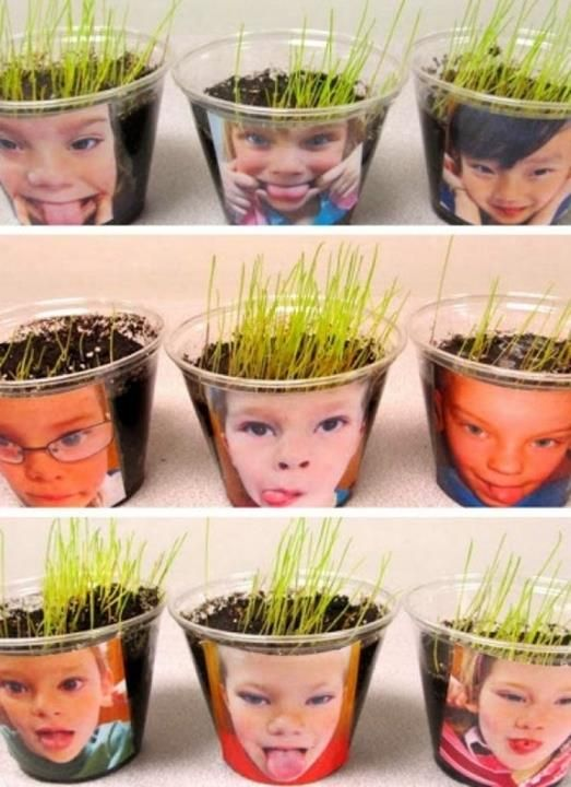 Cute kids DIY idea! Chia pet pictures of the kids for Earth Day.