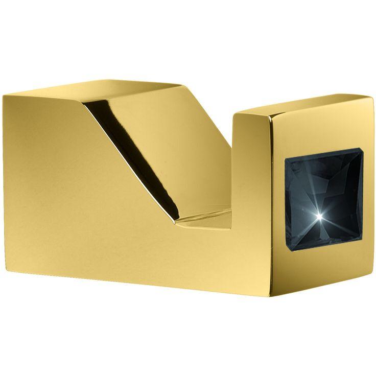 Moonlight Brass Robe Hook in Gold W/ Swarovski Crystals - White/ Blue/ Black