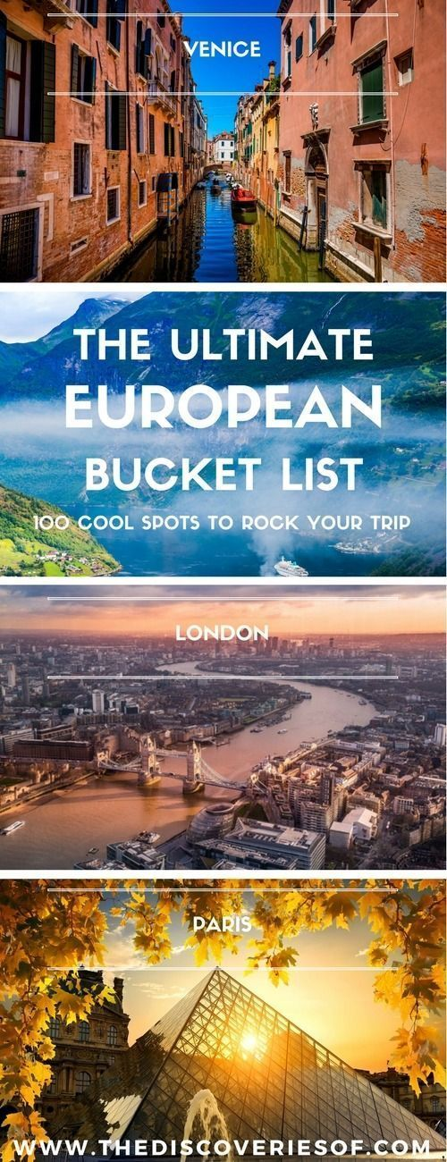 100 unmissable Europe travel destinations for the ultimate Europe bucket list. The best Europe travel tips and ideas for your trip I Places to visit in Europe I Europe road trip I European cities I Winter I Summer I Culture I Italy I Spain I France I Culture I Europe Places #travel #europe #bucketlist #BestCities #culturetravel