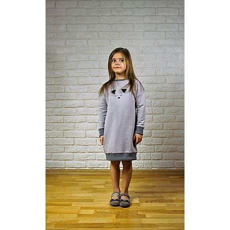 Wygodna sukienka z pieskiem, uszyta z mięciutkiej polskiej dzianiny bawełnianej, lewa strona to delikatny puszek