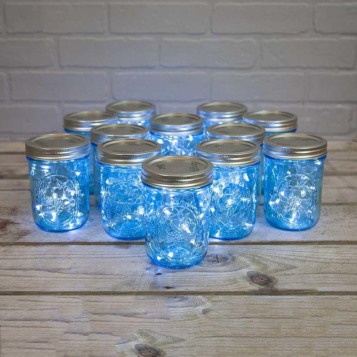 mason jar fairy lights blue pint wide mouth 16 oz cool. Black Bedroom Furniture Sets. Home Design Ideas