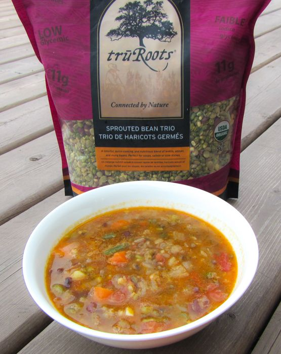 A recipe for vegetarian, gluten free veggie soup with sprouted lentils, mung and adzuki beans.