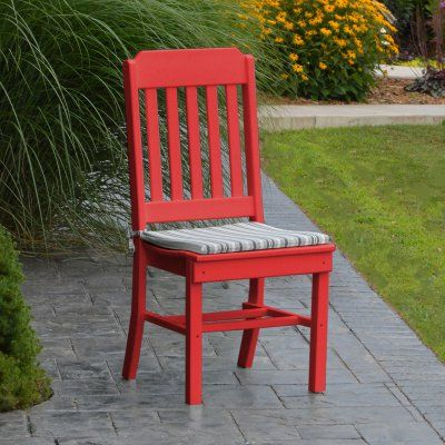 A & L Furniture Poly Traditional Outdoor Dining Side Chair - 4101-BW BRIGHT RED