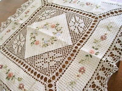 Hand Silk Ribbon Embroidered Crochet Lace Table Cloth | eBay