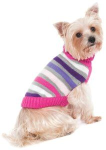 Fashion Pet Lookin Good Striped Turtleneck Sweater for Dogs, Medium, Pink from Ethical Products/Fashion Pet  ♥♥ buydogsweaters.com