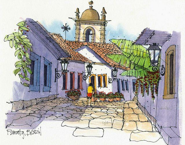 Sketches of Brazil, Paraty, travel art