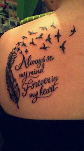 Feather with birds tattoo, 'Always on my mind Forever in my heart'