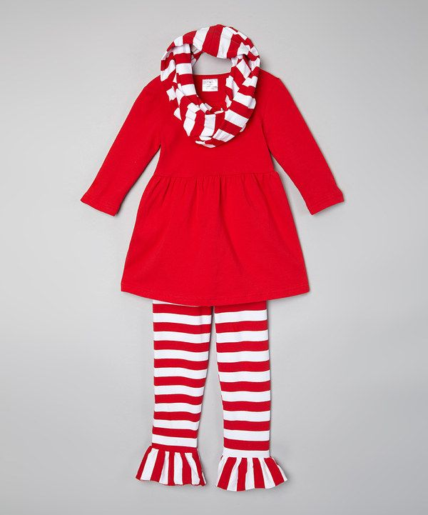 Look at this Sweet Cheeks Red & White Stripe Top & Pants Set - Infant, Toddler & Girls on #zulily today!