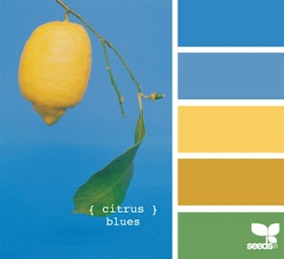 blue, yellow, gold, sage
