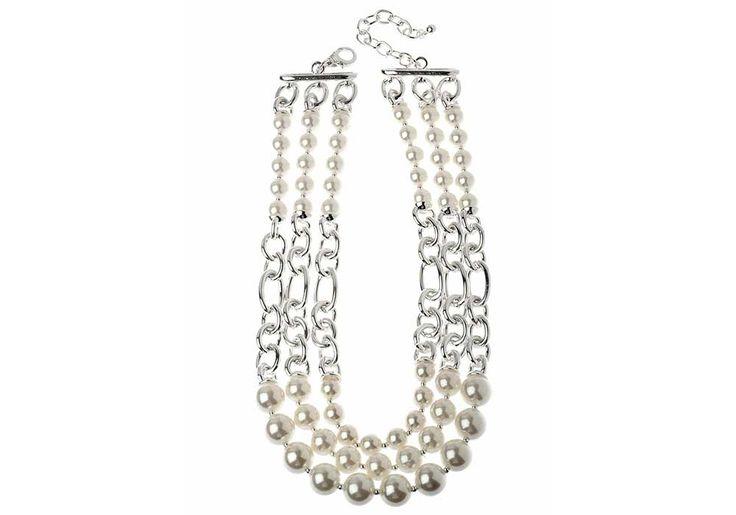 longueur: 47cm largeur: 3cm longueur extensible de: 8cm poids: 152g detail : perles finition rodhium argenté