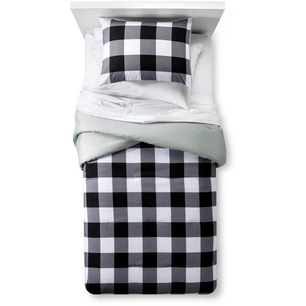 Checkered Buffalo Comforter Set (45 CAD) via Polyvore featuring home, bed & bath, bedding, comforters, black white comforter, black and white checkered comforter, checkered comforters, plaid bedding and plaid twin comforter