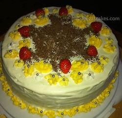 Celebration Honey Cake - with layers of very moist honey soaked sponge with fresh cream and butter cream
